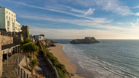 Coast in Tenby, Wales, UK. Paragon Beach and St. Catherine`s Island in Tenby, Pembrokeshire, Wales Stock Photo