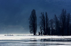 Coast of Tihany in winter time at Lake Balaton Stock Images