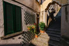 Coast Town Bellano on Como Lake. June 13th, 2017 - Lombardy, Italy. Narrow streets of authentic Bellano fishing village, situated on Como Lake shore. Traditional Stock Image