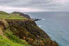 Coast by the town of Mosteiros on the island of Sao Miguel. Sao royalty free stock photography