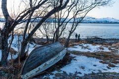 Coast of Tromso city in Tromsoya Island under the Midnight Sun i Royalty Free Stock Photos