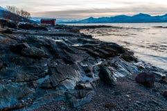 Coast of Tromso city in Tromsoya Island under the Midnight Sun i Stock Photo