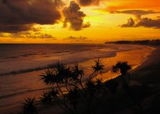 Coast of the tropical ocean after sunset stock photography