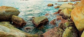 Coast of tropical sea with big stones. Thailand, Phuket island Royalty Free Stock Photos