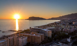 Coast in Turkey during sunset. View of marina in Alanya from mountains. Turkey, Mediterranean Sea Royalty Free Stock Photography