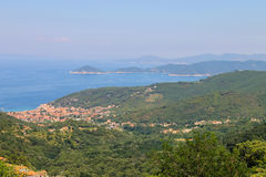Coast of Tyrrhenian Sea on Elba Island, Italy. Stock Images