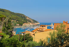 The coast of the Tyrrhenian Sea, Marciana Marina on Elba Island, Royalty Free Stock Images