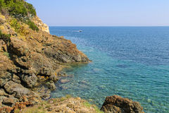 The coast of the Tyrrhenian Sea, Marciana Marina on Elba Island Royalty Free Stock Image