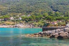 Coast of Tyrrhenian Sea, Sant Andreas on Elba Island Royalty Free Stock Photography