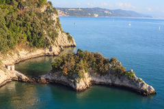 Coast under Duino castle Royalty Free Stock Images