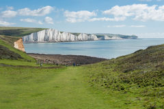 Coast view with amazing white cliffs Stock Images