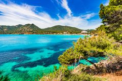 Beautiful island scenery of seaside in Canyamel on Mallorca island. Coast view of bay and beach in Canyamel Majorca Spain, Balearic islands Royalty Free Stock Photo