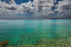 Coast view of Bonaire`s water. Capture from the Pier at the Capital of Bonaire, Kralendijk in this beautiful island of the Caribbean Netherlands, with its stock photography