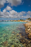 Coast view of Bonaire`s water. Capture from the Pier at the Capital of Bonaire, Kralendijk in this beautiful island of the Caribbean Netherlands, with its royalty free stock images