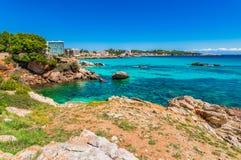 Coast view of Cala Ratjada, beautiful seaside scenery on Majorca, Spain island. Beautiful seaside of Cala Rajada on Mallorca, Spain Mediterranean Sea, Balearic Stock Images