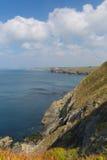 Coast view from Mullion Cove Cornwall UK the Lizard peninsula Mounts Bay near Helston Stock Photos
