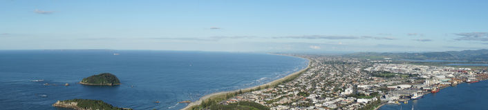 Coast view. Panorama of coast town Mount Maunganui Royalty Free Stock Images