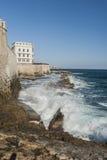 Coast view of Syracuse. Italy. rocks and waves. Off the coast of syracuse Stock Photos