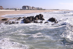 Coast view in Vila do Conde, Portugal. Royalty Free Stock Image