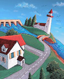 Coast village. Illustration of a coast village with lighthouse, river and houses Stock Photo