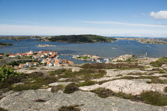 Coast village, Fjallbacka. View over Swedish westcoast village Fjällbacka Royalty Free Stock Photos