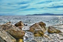 Coast. Waves on the rocks,greece royalty free stock photography