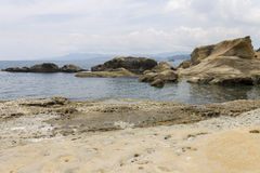Coast of Yehliu park with its rock formations Stock Photo