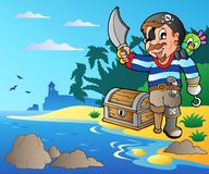 Coast with young cartoon pirate 2 Stock Images