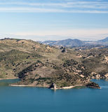 Coast of Zahara. Lake located in the town of Zahara de la Sierra in the Spanish province of Cadiz, is the coast and mountain scenery in the background, image Stock Photos