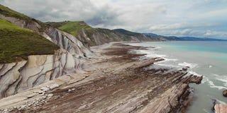 Coast between Zumaia and Deba Stock Photography