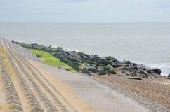 Coastal area with erosion defences. For sea Stock Photo