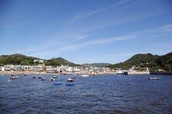Coastal area of Hong Kong, with house and ships. It is taken at Lamma Island, Hong Kong Stock Photography