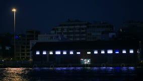 Coastal area on resort at night stock video