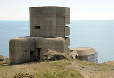Coastal artillery bunker Guernsey. German MP4 LAngle artillery observation tower, Guernsey, Channel Islands. Each of the five observation levels served a coastal Royalty Free Stock Photography