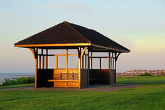 Coastal bench shelter Stock Photos