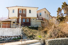 Coastal Black Sea architecture in the Bulgarian city of Pomorie Royalty Free Stock Images