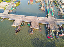 Coastal bridge in Chonburi Royalty Free Stock Photography