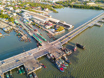 Coastal bridge in Chonburi Stock Image