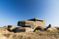 Coastal bunker. Coastal WW2 bunker in the dunes of Ijmuiden, The Netherlands stock photos