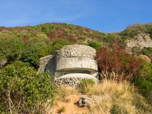 Coastal bunker of the second world war in Mediterranean scrub Royalty Free Stock Photography