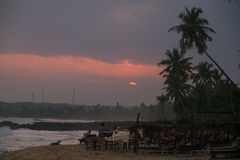 Coastal cafe at sunset Royalty Free Stock Images