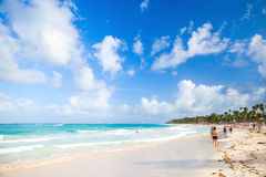 Coastal Caribbean seascape. Atlantic ocean coast. Punta Cana, Dominican republic - January 13, 2015: Coastal Caribbean seascape. Atlantic ocean coast, ordinary Royalty Free Stock Photo