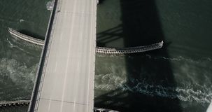 Coastal Carolina Bridge flyover stock video