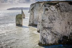 Coastal chalk cliffs near Old Harry Rocks, Swanage, Dorset, UK. On 21 February 2014 stock photography