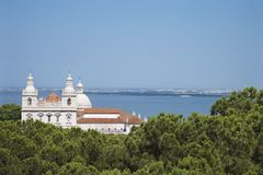 Coastal church in Lisbon, Portugal. Royalty Free Stock Photo