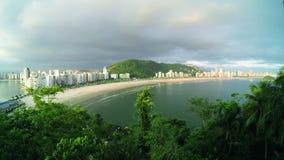 Coastal city on a cloudy day