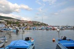 Coastal city, marina, yachts and boats Stock Photo