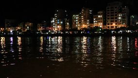 Coastal city at night. The coastal city at night stock footage
