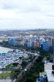 Coastal city skyline stock image