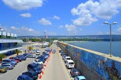 Coastal city street and graffiti wall Royalty Free Stock Photography